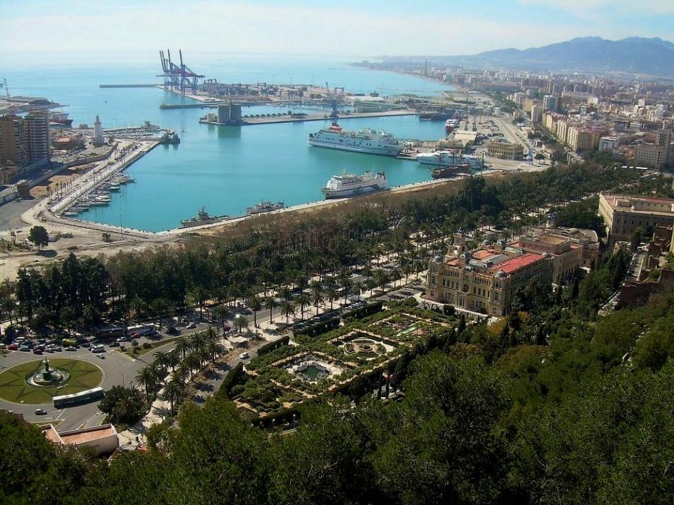 Malaga port and city centre view