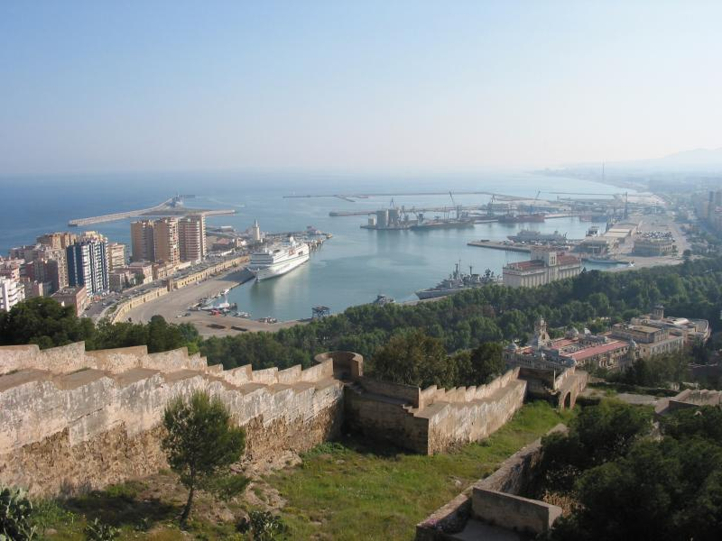 Malaga Port from Gibralfaro castle